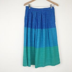 VTG Blue Green Ombre Cotton Midi Skirt Color Block